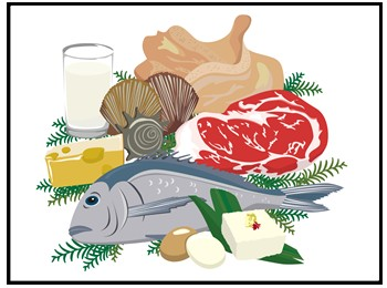 肉と魚の画像